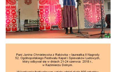 Janina Chmielewska z Rakówka- laureatką II Nagrody 52 Ogólnopolskiego Festiwalu Kapel i Śpiewaków Ludowych w Kazimierzu Dolnym